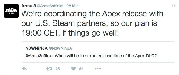 Arma 3: Apex Release Twitter