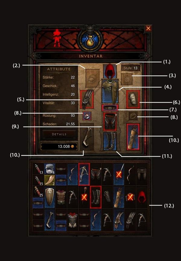 Diablo 3 - Die Grundlagen : Das Helden-Inventar in Diablo 3.
