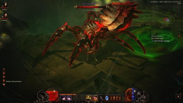 Diablo 3 - Komplettlösung : Unsere Dämonen-Jägerin begraben unter der Spinnen-Königin Araneae.