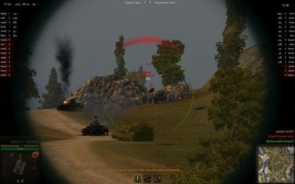 World of Tanks : Der Gegner macht es richtig, in dieser Position kann er ungehindert schießen, zeigt jedoch nur ein Minimum seiner Panzers.
