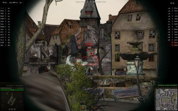 World of Tanks : Sobald wir auch nur ein klitzekleines Teil vom gegnerischen Panzer sehen können, zeigt uns das Spiel seine komplette Silhouette und wir können einschätzen, ob ein Schuss sich lohnt – hier wäre es Munitionsverschwendung.