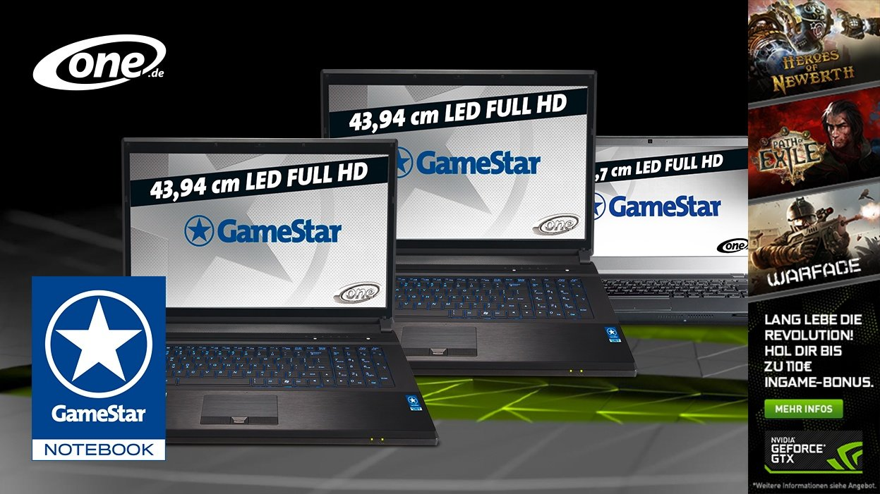 neue one gamestar notebooks mit geforce gtx 800m bis zu 40 schneller doppelt videospeicher. Black Bedroom Furniture Sets. Home Design Ideas