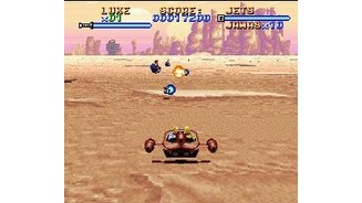 The landspeeder level uses the SNES Mode 7 effect. Soft control and excellent playability!
