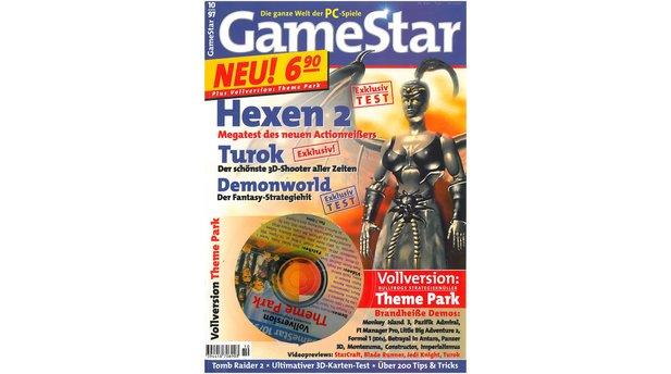 <b>GameStar 10/1997</b><br>Das erste GameStar-Heft hat als Titel-Story den Ego-Shooter Hexen 2 im Mega-Test. Außerdem im Heft: Previews zu Age of Empires, NHL 98, StarCraft, Blade Runner, Tomb Raider 2 und Turok. Im Test: u.a. Anstoss 2, Bombermann, Sonic 3D, Resident Evil und Bomberman.