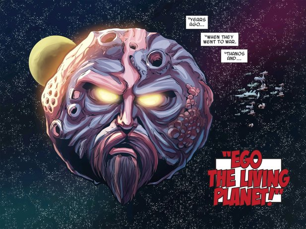 So sieht der lebendige Planet Ego in den Comics Guardians Of The Galaxy aus...