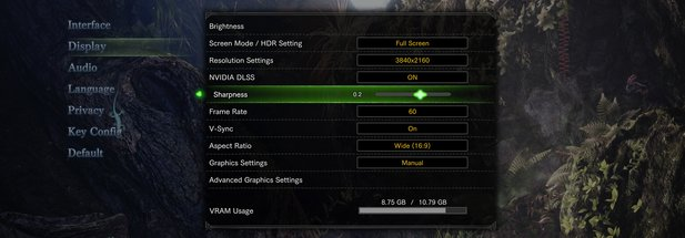 Hier seht ihr den Schärfe-Slider mit Nvidia DLSS in Monster Hunter World.