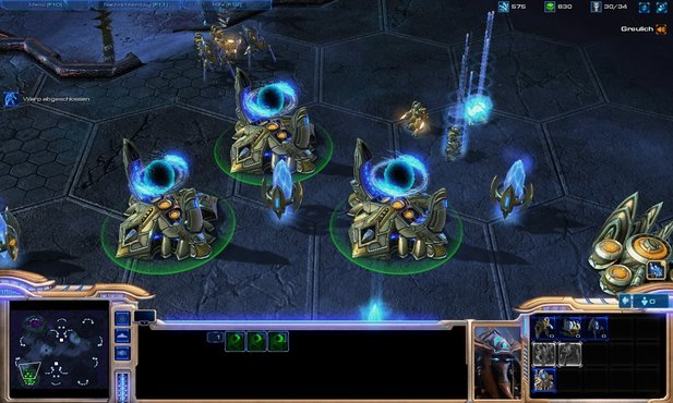 Protoss are beaming reinforcements into a pylon's energy field.