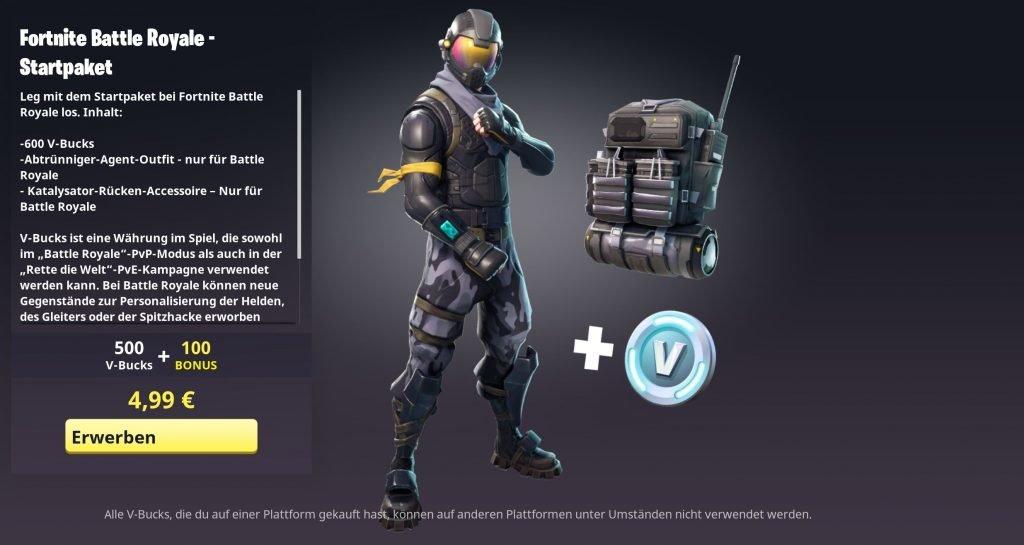 Fortnite Battle Royale Starter Pack Fur 4 99 Euro Jetzt Verfugbar