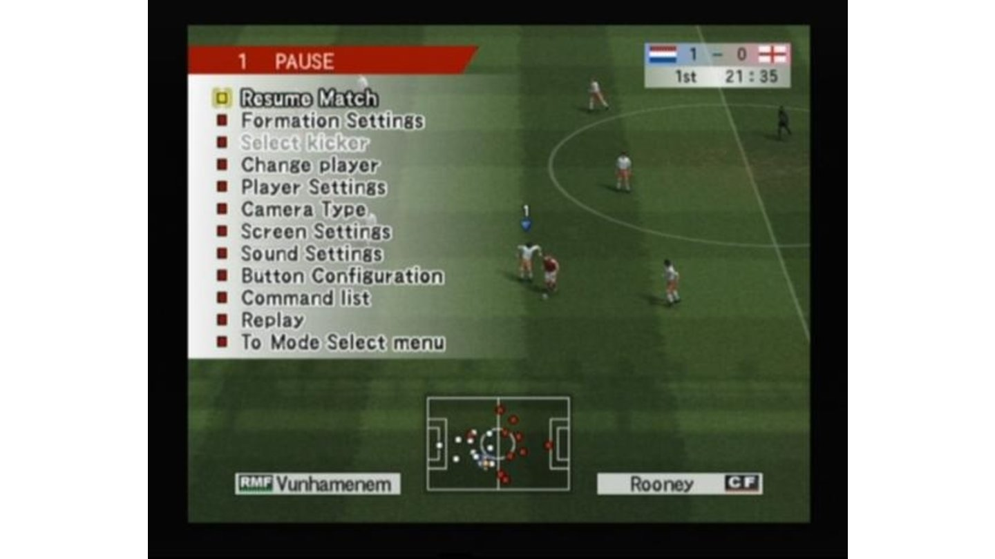 In-game menu pauses the game and gives you a whole set of options to change (that's also how you change players and tactics in the middle of a game)