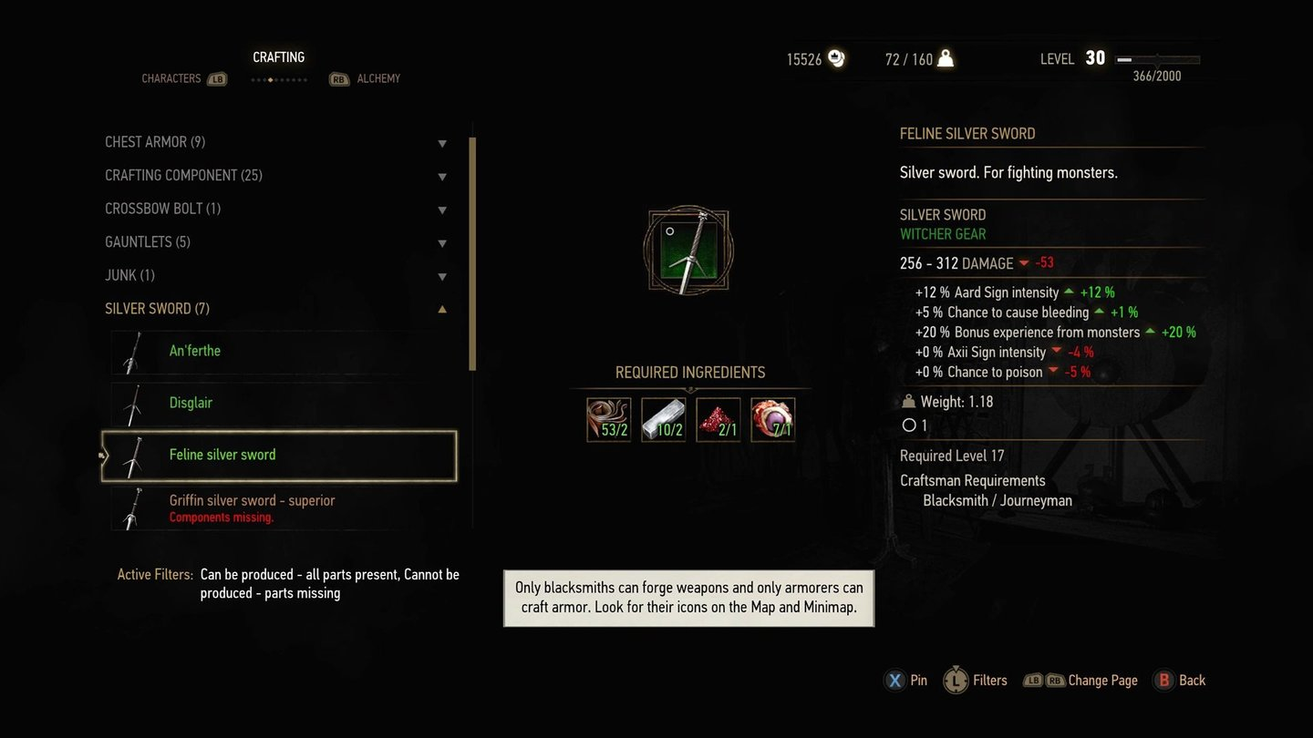 The Witcher 3: Blood and WineGleiches gilt für das Crafting-Fenster, hier in seiner alten Form.