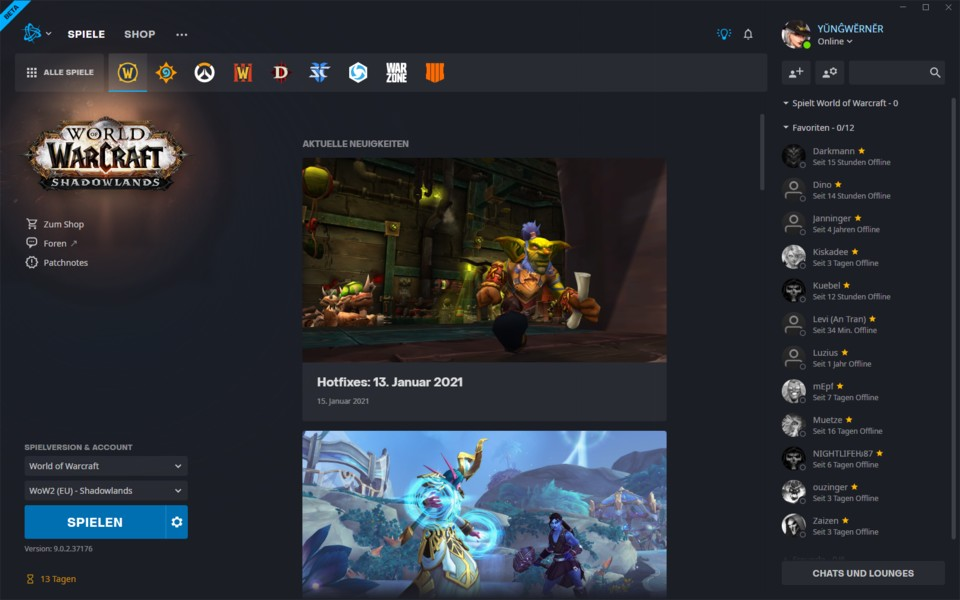 Significantly more news is now displayed in the middle area of the Battle.net app.