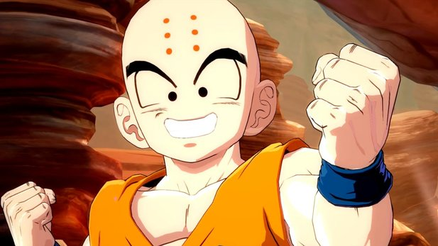 Anders als in der Serienvorlage, mischt Krillin in Dragon Ball FighterZ ganz vorn mit.