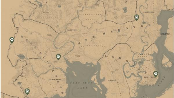 Red Dead Redemption 2 Legendare Tiere Karte.Red Dead Redemption 2 Fundorte Aller Legendaren Tiere Auf