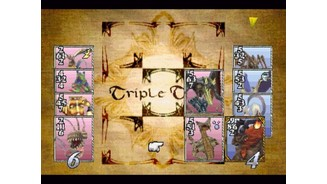 Playing Triple Triad, the in-game collectable card game