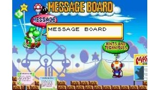 The message board shows you different things like hints and tricks for the game