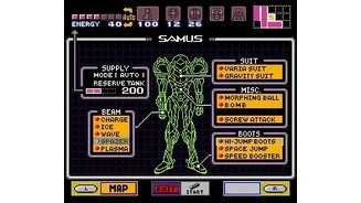 Press Start to see what equipment Samus has picked up