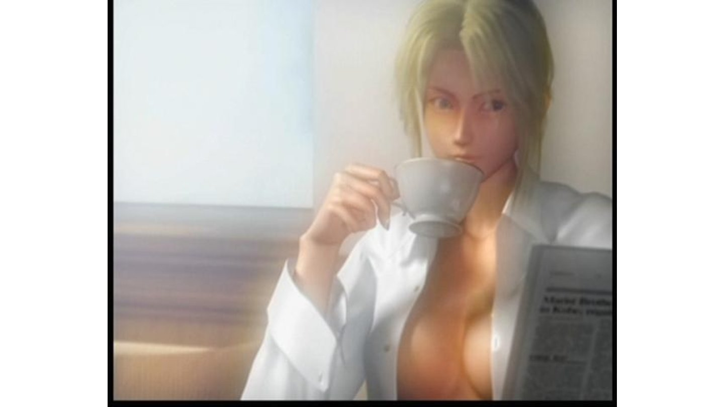 Camera sure knows how to make fools of us, as if this scene is really about drinking tea.