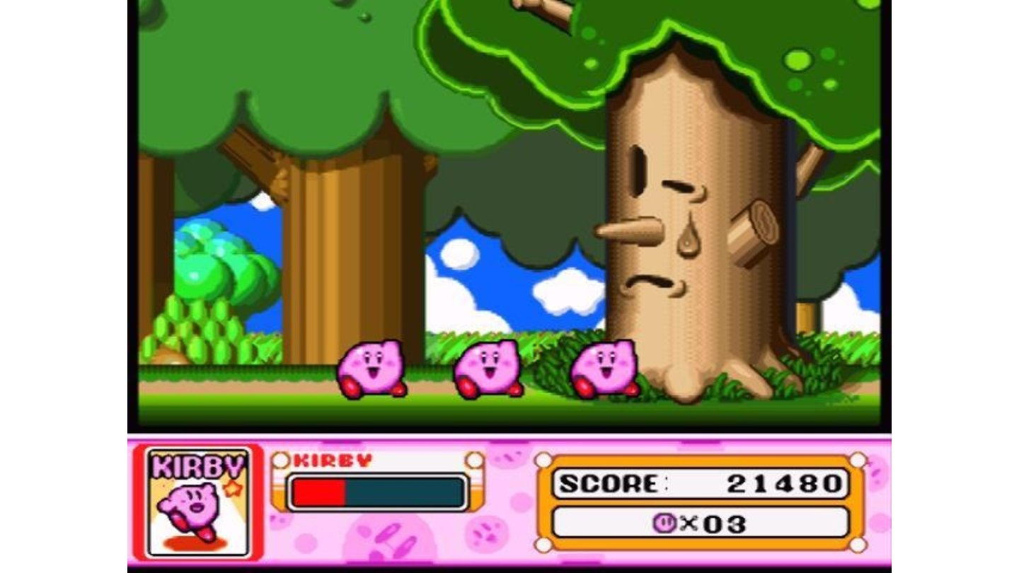 The boss is defeated, the level is completed, Kirby is now three, and look at this sad tree